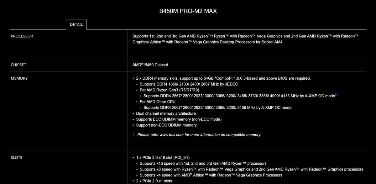 Spec-01 B450M PRO-M2 MAX